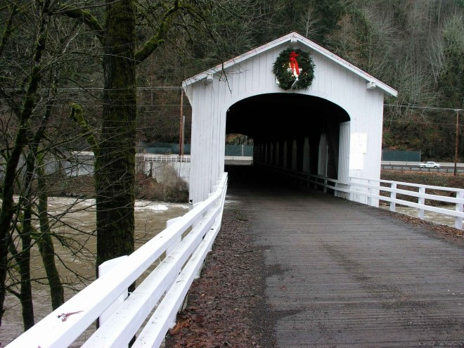 You cross this cool covered bridge