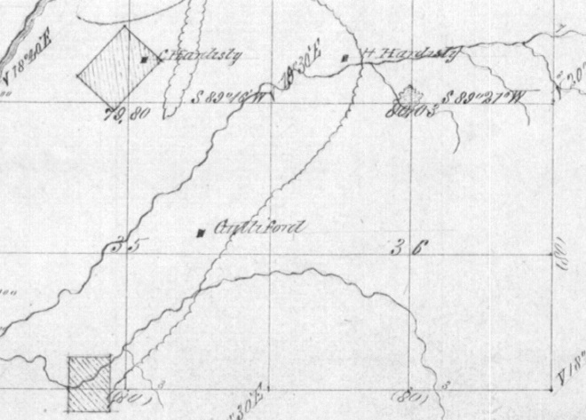 Location of original settlers in the 1800s.