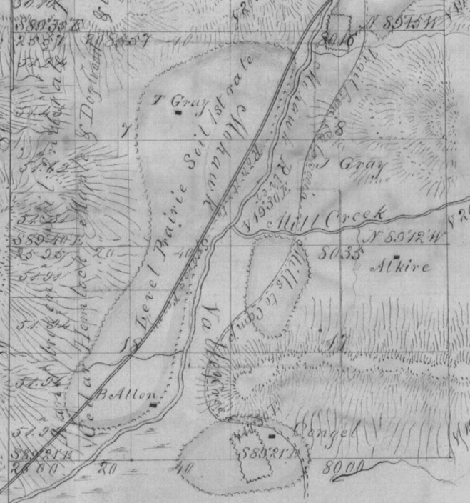 1855 survey of the Marcola area showing some of the location original homesteads.