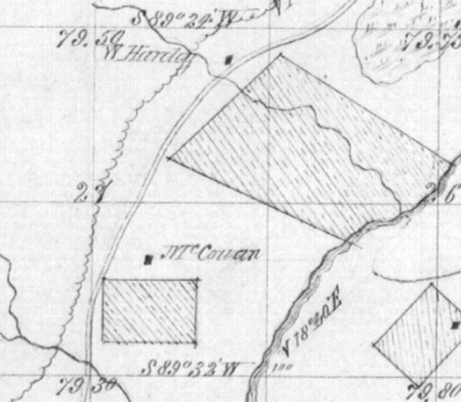 One of the original surveys near Donna Road, Lane County, Oregon showing the McGowan and Harley homesteads.