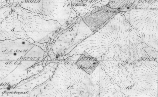 1855 survey showing Simmons & Ramsey homesteads.